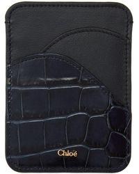 Chloé Porte-cartes embosse facon croco bleu marine Walden