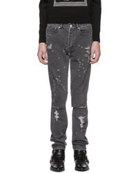 Givenchy - Grey Destroyed Slim-fit Jeans - Lyst