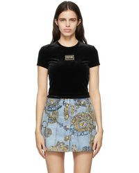 Versace Jeans Couture - ブラック クロップド ロゴ T シャツ - Lyst