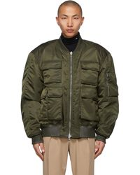 Wooyoungmi Khaki Nylon Cargo Bomber Jacket - Green