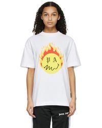 Palm Angels - Smiley Edition ホワイト Burning Head ロゴ T シャツ - Lyst
