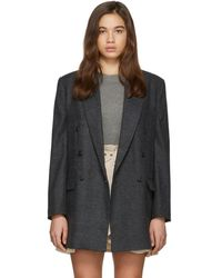 Étoile Isabel Marant Grey Wool Eagan Double-breasted Blazer - Gray