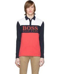 BOSS by Hugo Boss - レッド カラーブロック Plisy1 ロング スリーブ ポロ - Lyst