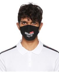 DSquared² Black Intarsia Logo Mask - Multicolour