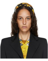 Versace White And Yellow Silk Barocco Headband - Black