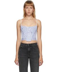 Alexander Wang Blue And White Stripe Tucked Bustier Tank Top