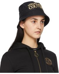 Versace Jeans Couture ブラック ロゴ バケット ハット
