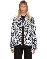 Noon Goons Blouson en denim à motif léopard noir et blanc