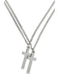 DSquared² Silver Double Cross Necklace - Metallic