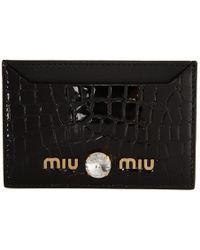 Miu Miu - ブラック マテラッセ レザー カード ホルダー - Lyst