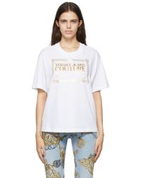 Versace Jeans Couture ホワイト & ゴールド ロゴ T シャツ