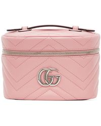 Gucci Trousse pour maquillage a glissiere rose GG Marmont 2.0