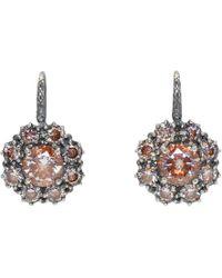 Bottega Veneta - Silver Flowers Zircon Earrings - Lyst