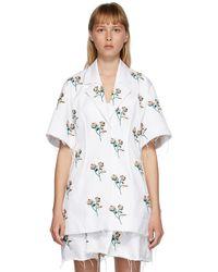 Marina Moscone - ホワイト エンブロイダリー Basque シャツ ドレス - Lyst