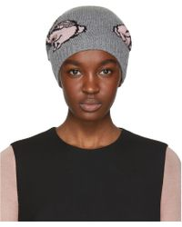 Prada | Grey And Pink Rabbits Beanie | Lyst