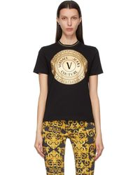 Versace Jeans Couture - Black And Gold V-emblem T-shirt - Lyst