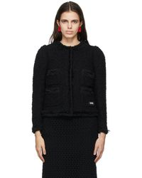 Pushbutton Tweed Cropped Jacket - Black