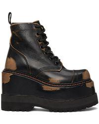 R13 ブラック ミディアム プラットフォーム アンクル ブーツ
