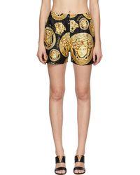 Versace ブラック & イエロー Medusa Amplified パジャマ ショーツ