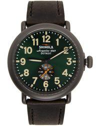Shinola Montre 'The Runwell' 47mm noire et verte
