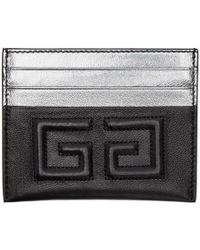 Givenchy - Black And Silver Emblem 4g Card Holder - Lyst