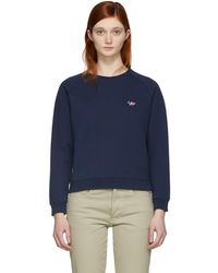 Maison Kitsuné - Navy Tricolor Fox Patch Sweatshirt - Lyst