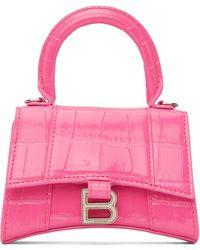 Balenciaga - ピンク クロコ ミニ Hourglass チェーン バッグ - Lyst