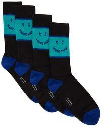 PS by Paul Smith Ensemble de quatre paires de chaussettes PS Face noires et bleues