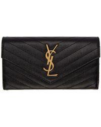 Saint Laurent Black And Gold Large Monogramme Flap Wallet