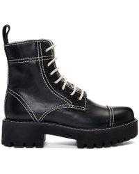 ALEXACHUNG ブラック レザー ミリタリー ブーツ