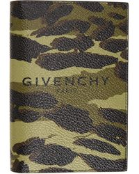 Givenchy Green And Brown Camouflage Passport Holder