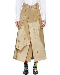 Junya Watanabe ベージュ コットン ギャバジン スカート - ナチュラル