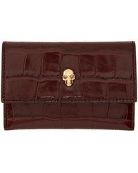 Alexander McQueen バーガンディ クロコ Skull Envelope カード ケース - ブラウン