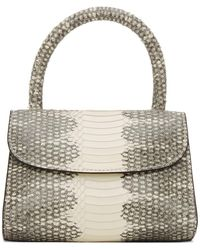BY FAR White And Grey Snake Mini Top Handle Bag - Gray