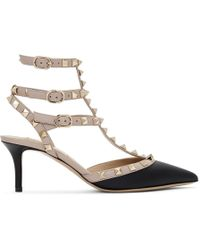 Valentino - Black And Beige Rockstud 65 Strappy Leather Pumps - Lyst