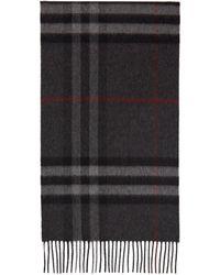Burberry - グレー カシミア クラシック Check マフラー - Lyst