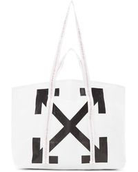 Off-White c/o Virgil Abloh Diagonal Arrows Logo Print Tote - White