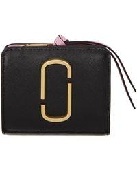 Marc Jacobs Portefeuille noir et doré Mini Snapshot Compact