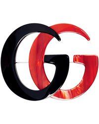 Gucci ブラック & レッド GG マーモント ブローチ