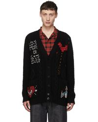 Valentino - Black Cable Knit Video Game Cardigan - Lyst