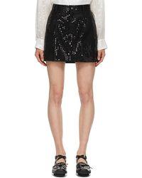Junya Watanabe Mini-jupe à paillettes en laine noire