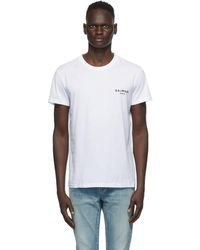 Balmain ホワイト ラウンド ネック T シャツ