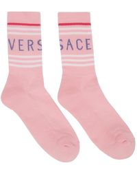 Versace ピンク ロゴ ソックス