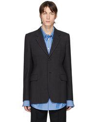 Balenciaga グレー アワーグラス シングルブレスト コート