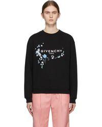 Givenchy - ブラック フローラル ロゴ スウェットシャツ - Lyst
