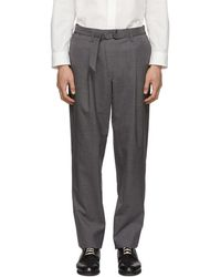 Issey Miyake - Grey Wool Poplin Belted Trousers - Lyst