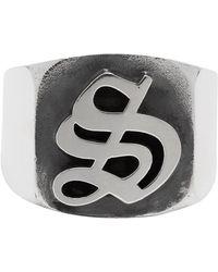 Stolen Girlfriends Club Silver Gothic Stamp Signet Ring - Metallic