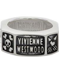 Vivienne Westwood シルバー And ガンメタル Samos リング - メタリック