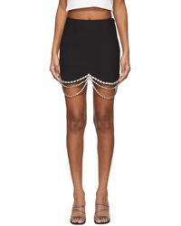Area ブラック Draped Crystal Scallop ミニスカート