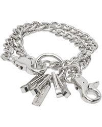 DSquared² Silver Curb Chain Bracelet - Metallic